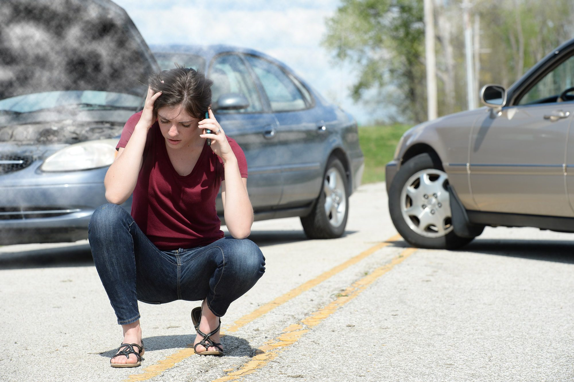 Teen Driver Calling Road Side Service